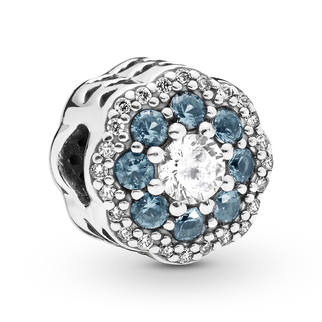Pandora Blue Sparkle Flower