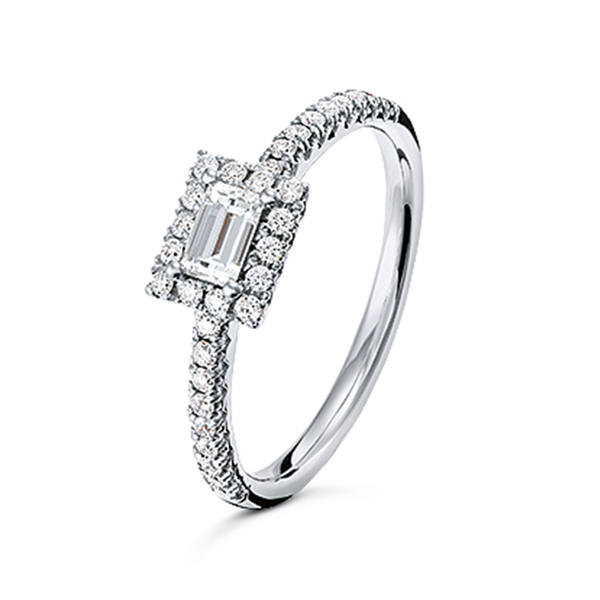 Bague or blanc 18 carat avec diamants 54